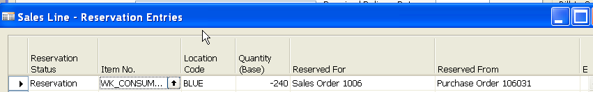 Stock Reservation (from Sales Order Line) Sales Order
