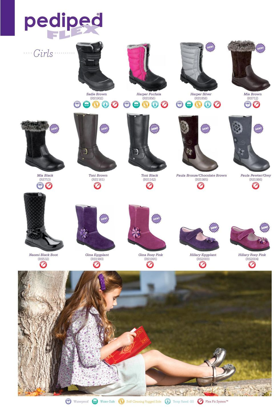 (RS1986) Naomi Black Boot (RS532) Gina Eggplant (RS1990) Gina Rosy Pink (RS1991) Hillary Eggplant