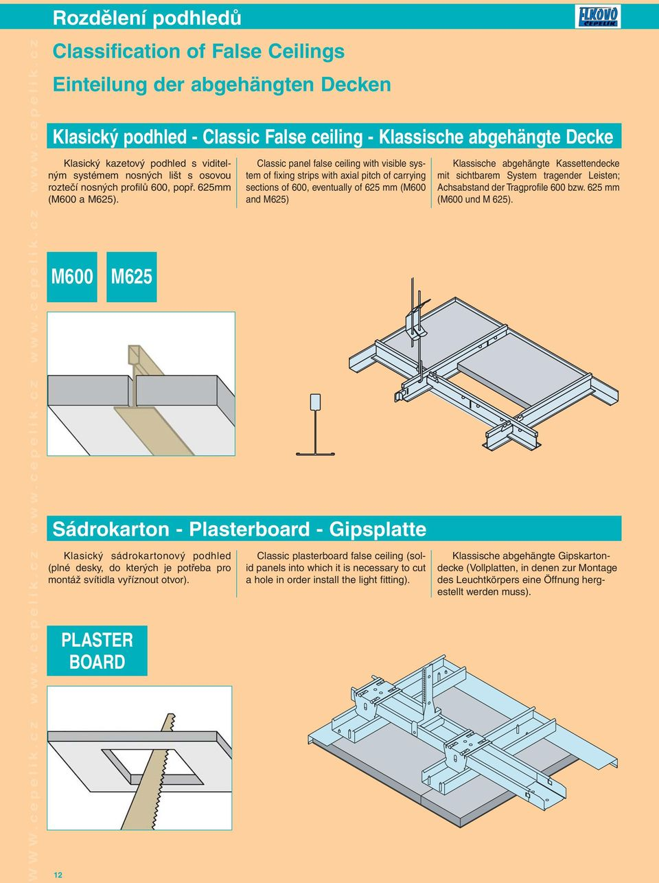 cz Rozdělení podhledů Classification of False Ceilings Einteilung der abgehängten Decken Klasický podhled - Classic False ceiling - Klassische abgehängte Decke Klasický kazetový podhled s viditelným