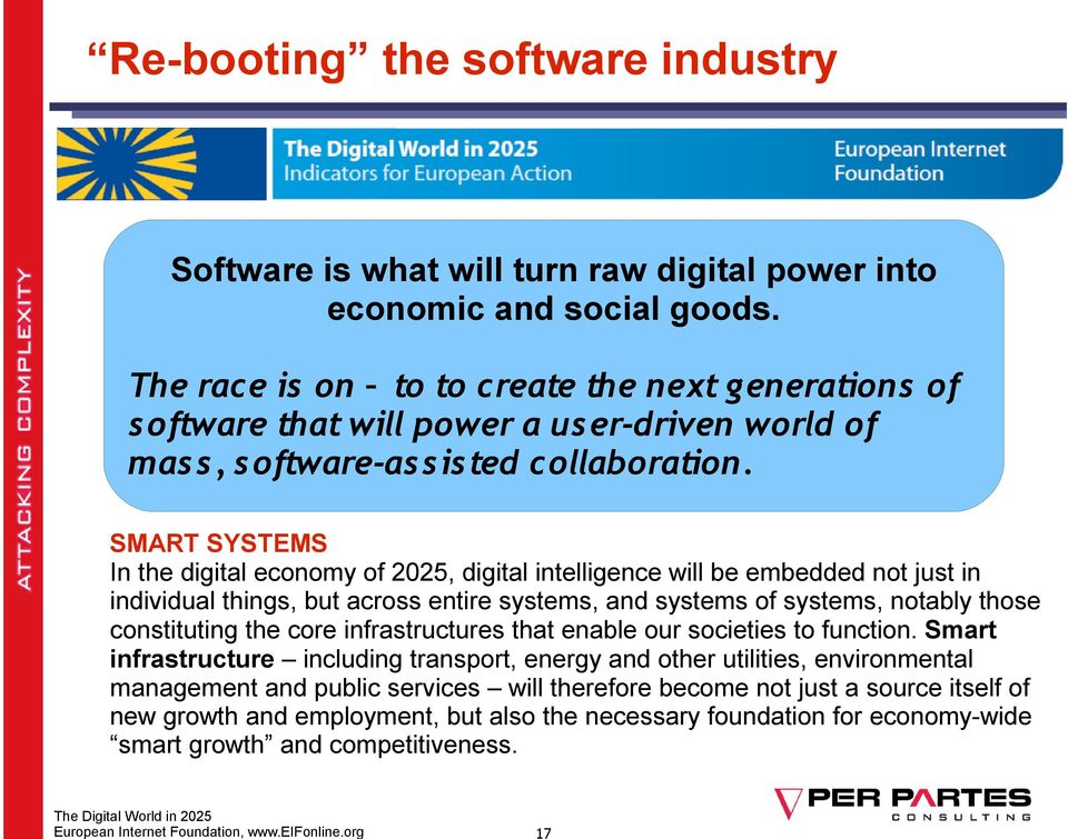 SMART SYSTEMS In the digital economy of 2025, digital intelligence will be embedded not just in individual things, but across entire systems, and systems of systems, notably those constituting the