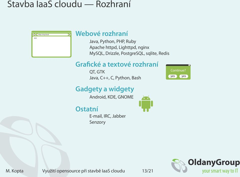 rozhraní QT, GTK Java, C++, C, Python, Bash Gadgety a widgety Android, KDE, GNOME Continue?