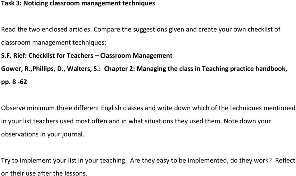 , Walters, S.: Chapter 2: Managing the class in Teaching practice handbook, pp.