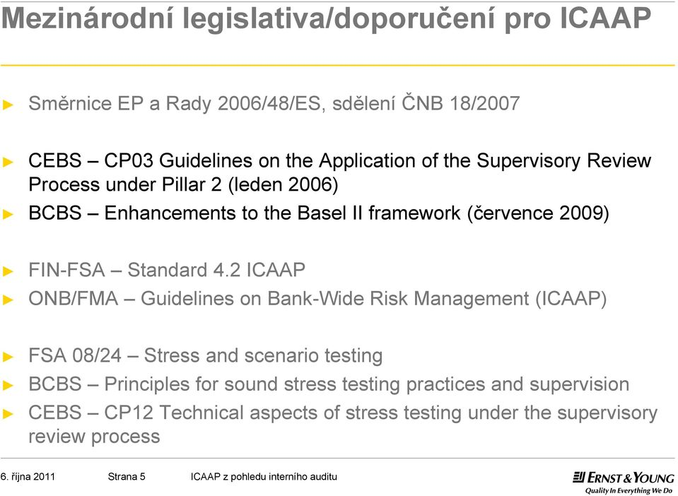 2 ICAAP ONB/FMA Guidelines on Bank-Wide Risk Management (ICAAP) FSA 08/24 Stress and scenario testing BCBS Principles for sound stress testing