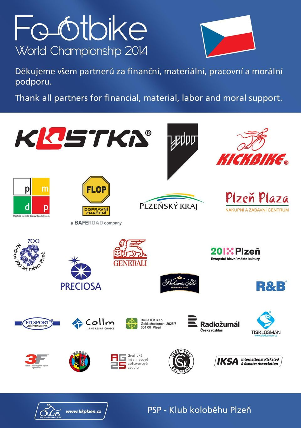 Thank all partners for financial,