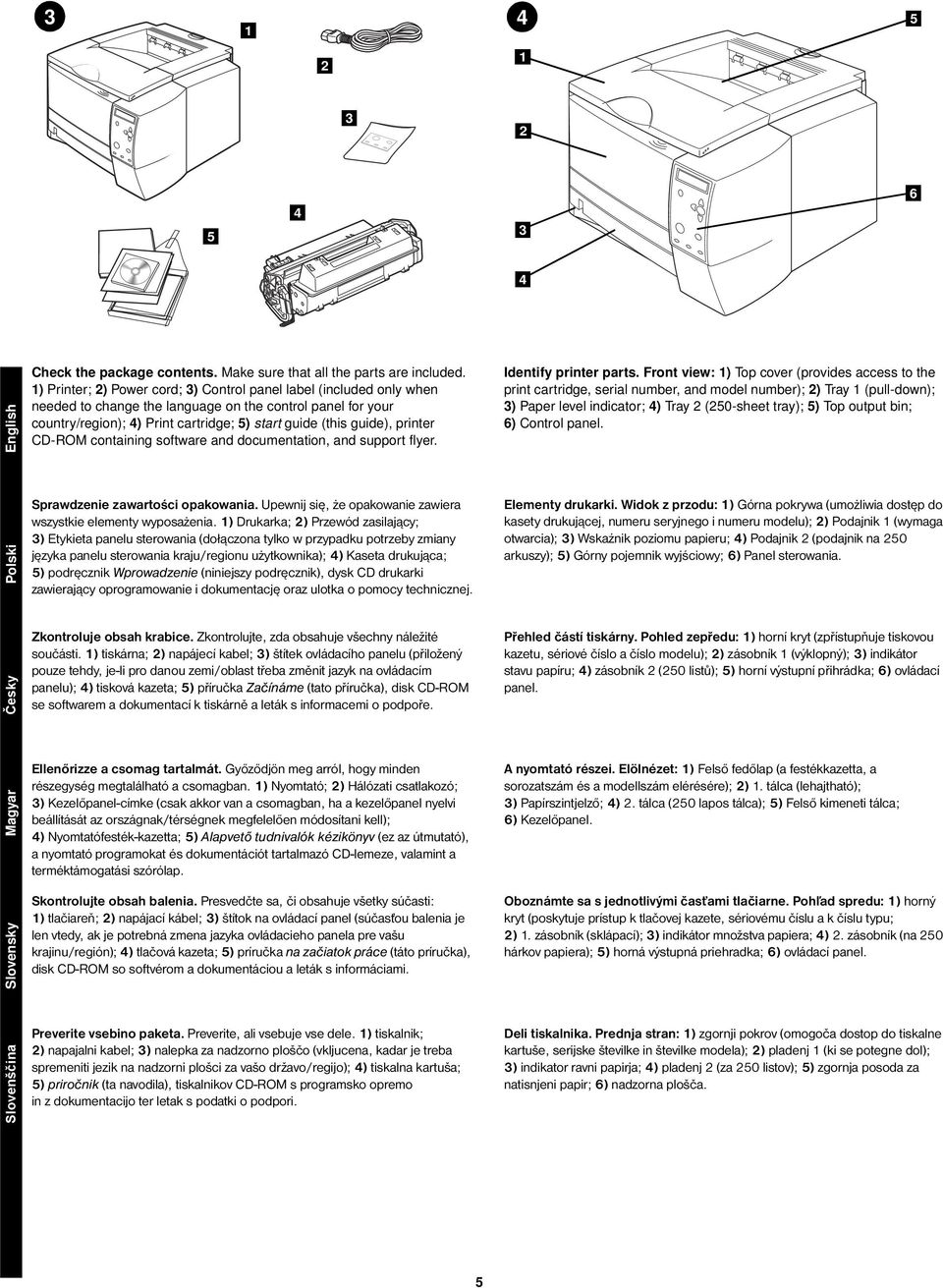 printer CD-ROM containing software and documentation, and support flyer. Identify printer parts.