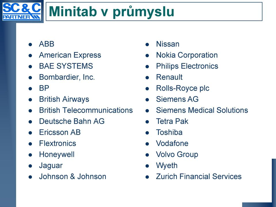 Honeywell Jaguar Johnson & Johnson Nissan Nokia Corporation Philips Electronics Renault