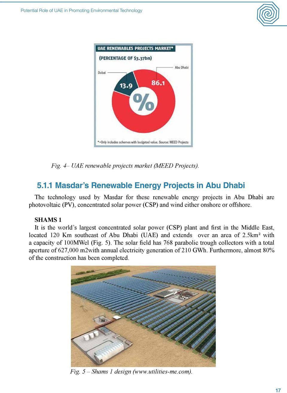 onshore or offshore. SHAMS 1 It is the world s largest concentrated solar power (CSP) plant and first in the Middle East, located 120 Km southeast of Abu Dhabi (UAE) and extends over an area of 2.