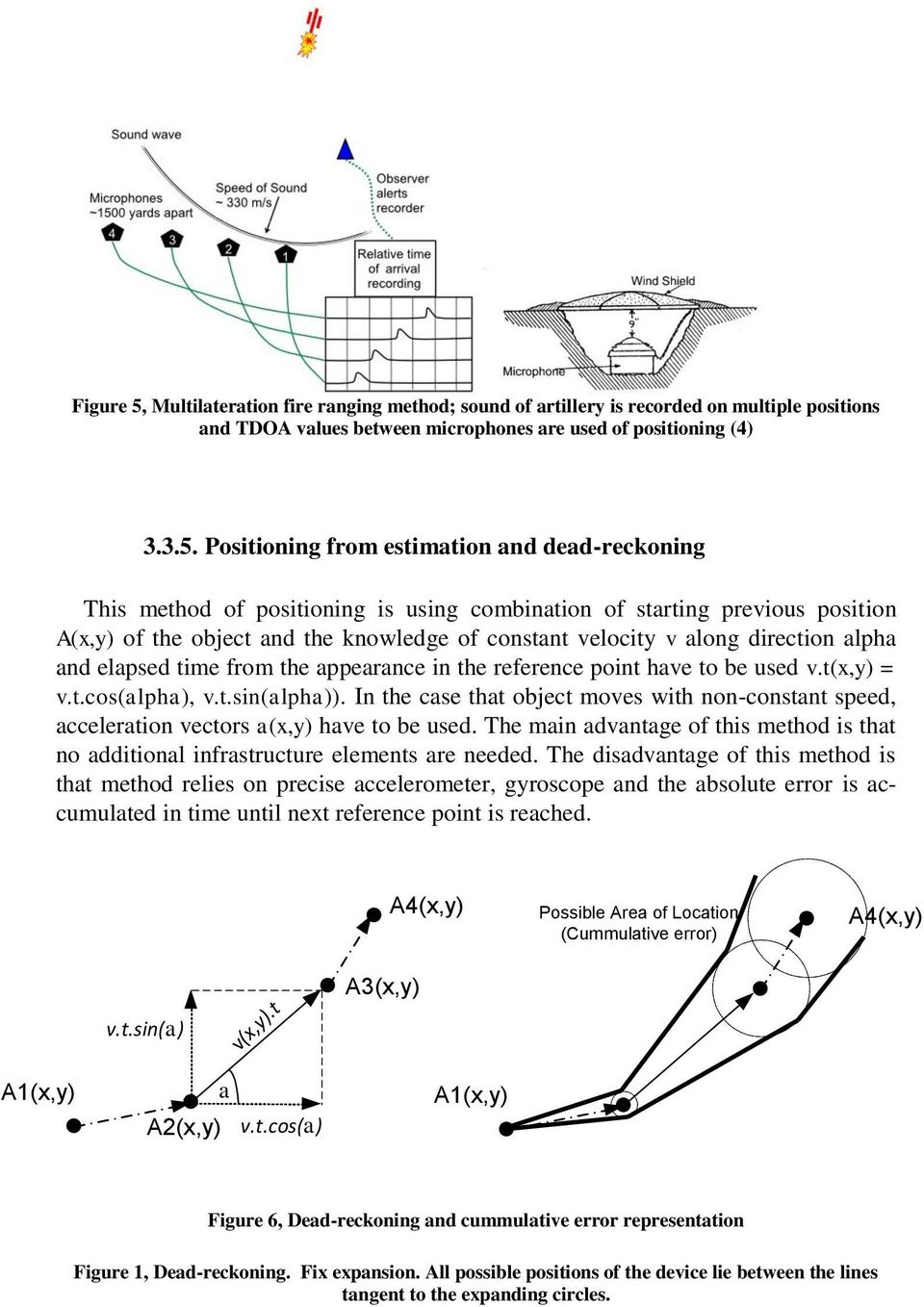 Positioning from estimation and dead-reckoning This method of positioning is using combination of starting previous position A(x,y) of the object and the knowledge of constant velocity v along
