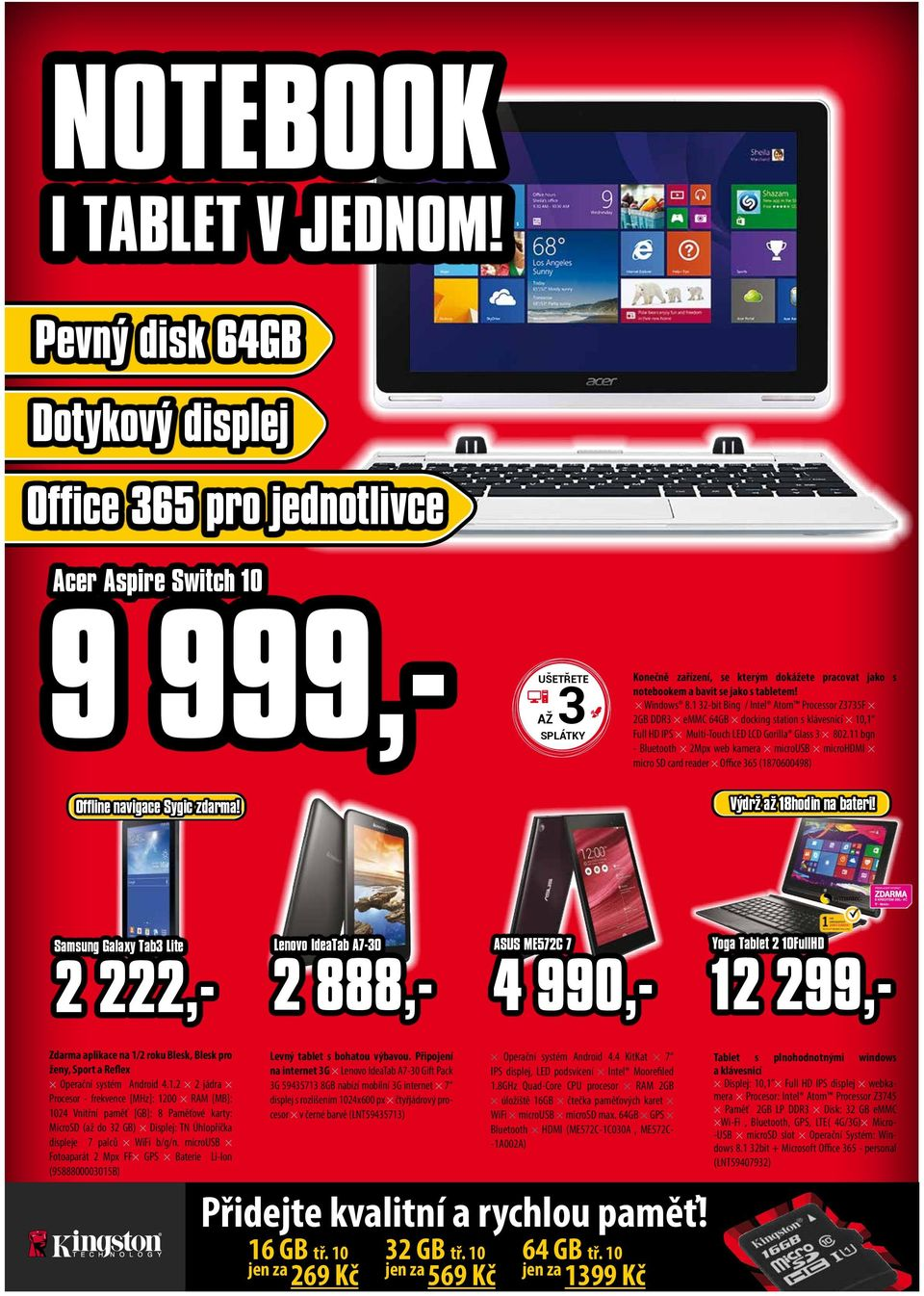 tabletem! Windows 8.1 32-bit Bing / Intel Atom Processor Z3735F 2GB DDR3 emmc 64GB docking station s klávesnicí 10,1 Full HD IPS Multi-Touch LED LCD Gorilla Glass 3 802.