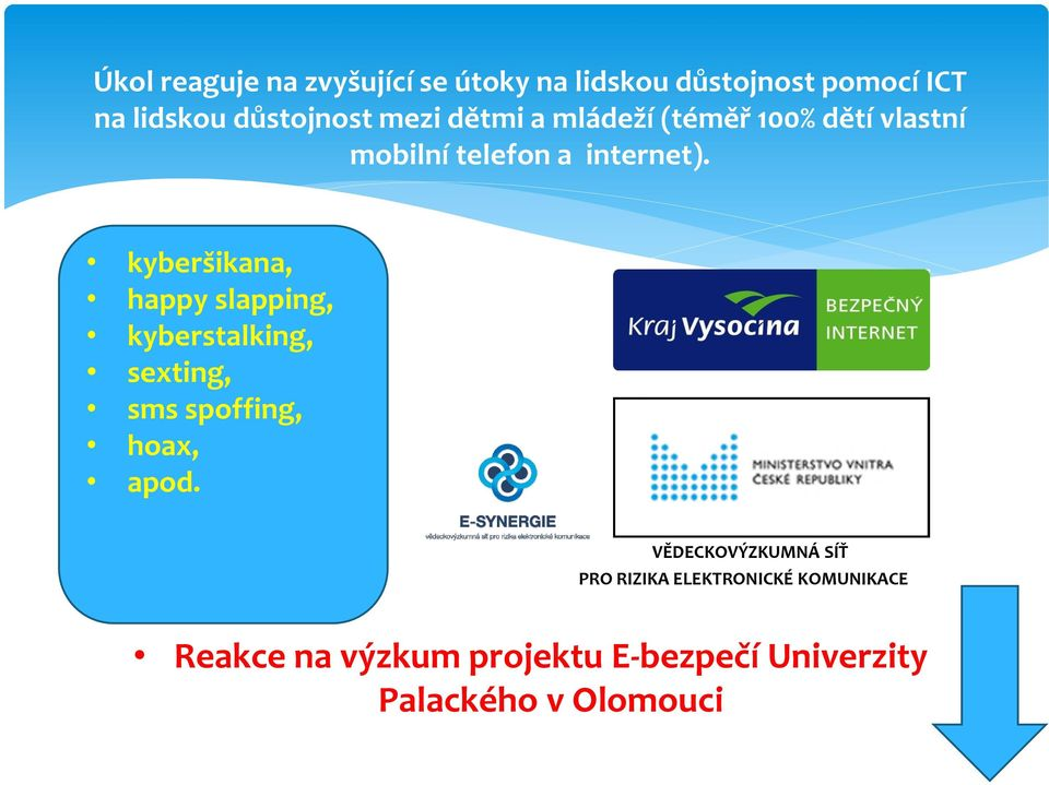 kyberšikana, happy sexting, slapping, kyberstalking, sms spoffing, sexting, hoax, sms apod.