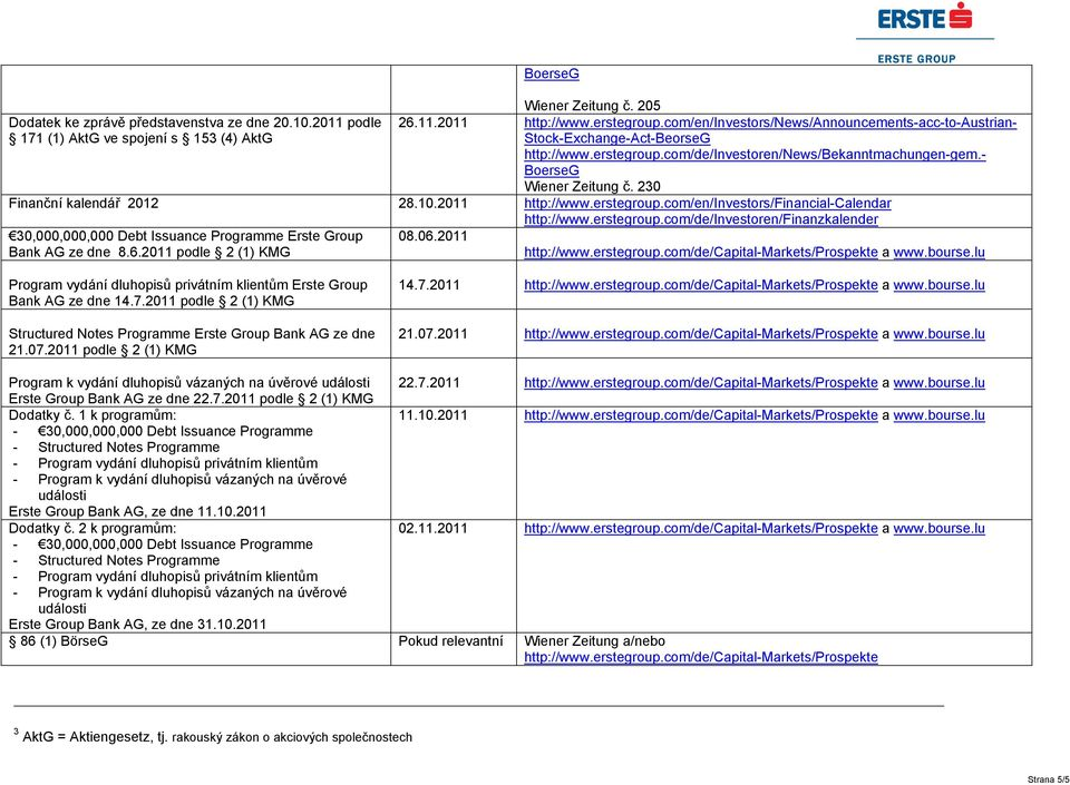 com/en/investors/financial-calendar http://www.erstegroup.com/de/investoren/finanzkalender 30,000,000,000 Debt Issuance Programme Erste Group Bank AG ze dne 8.6.2011 podle 2 (1) KMG 08.06.