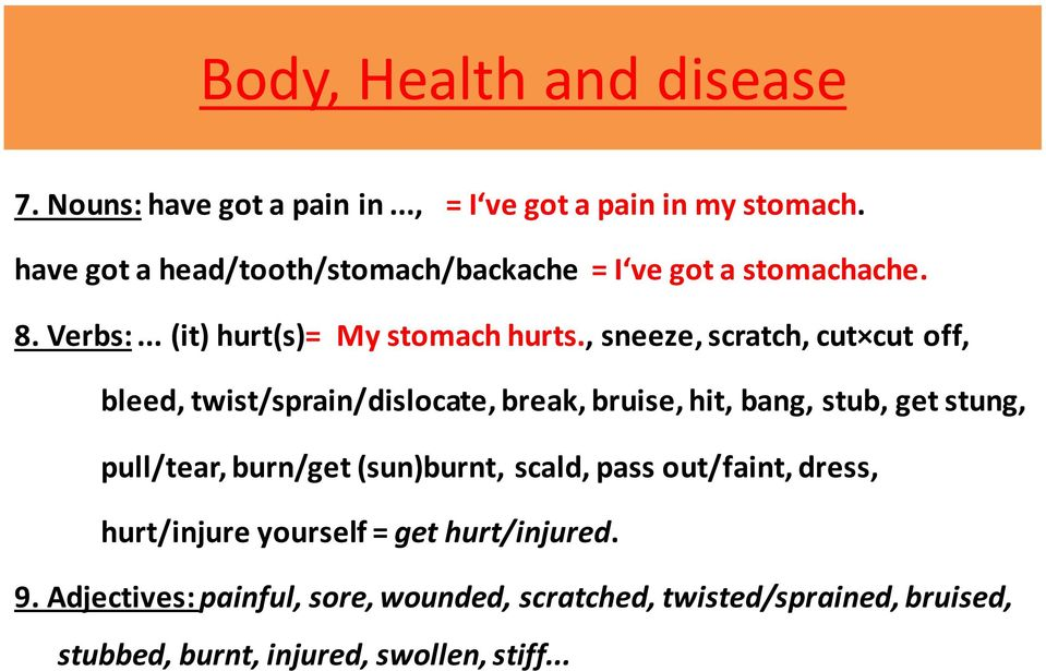 , sneeze, scratch, cut cut off, bleed, twist/sprain/dislocate, break, bruise, hit, bang, stub, get stung, pull/tear, burn/get