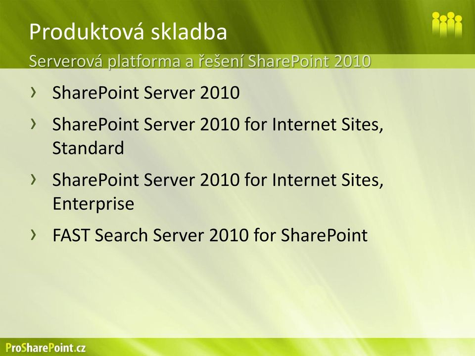 2010 for Internet Sites, Standard SharePoint Server 2010