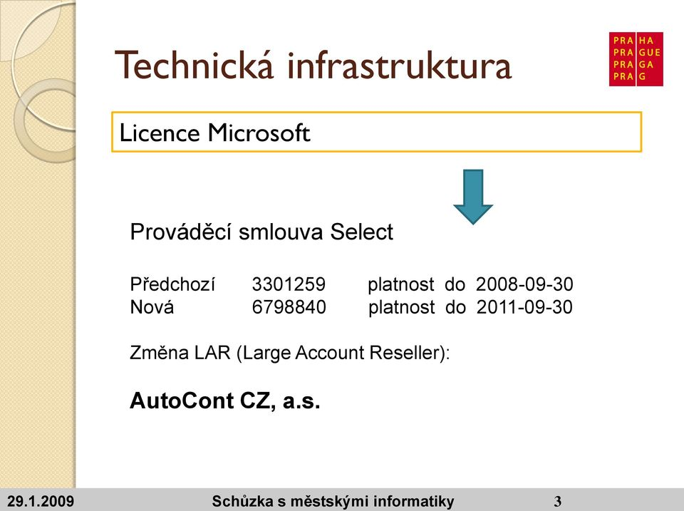 do 2011-09-30 Změna LAR (Large Account Reseller):