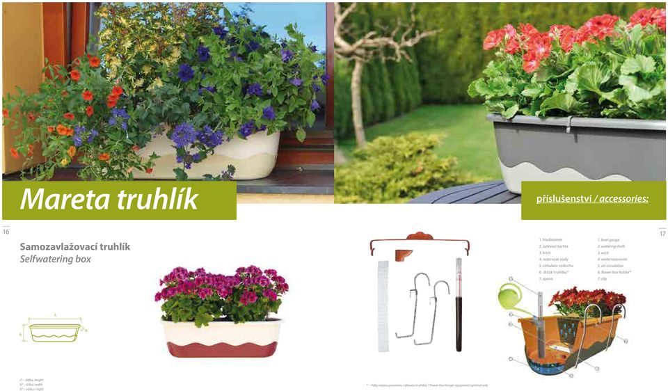 watering shaft 3. wick 4. water reservoire 5. air circulation 6. flower box holder* 7.