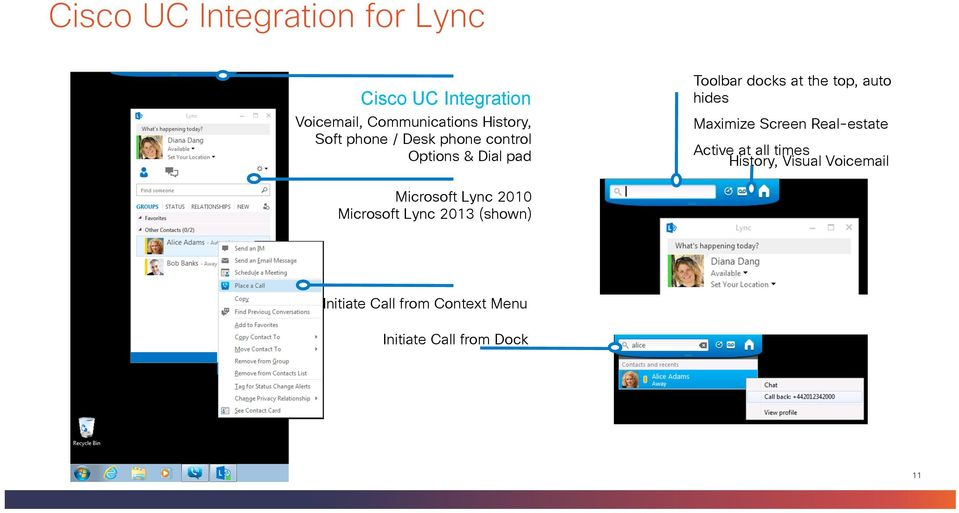 Maximize Screen Real-estate Active at all times History, Visual Voicemail Microsoft Lync