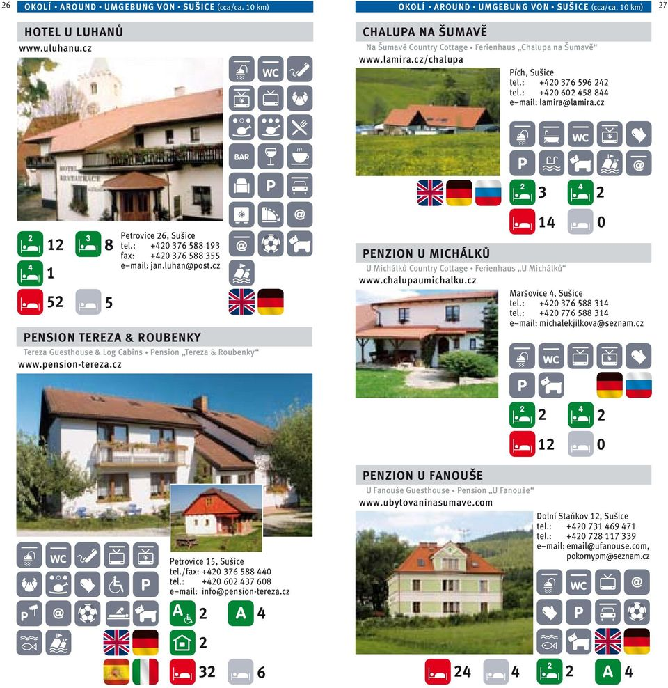 : +0 376 588 93 fax: +0 376 588 355 e mail: jan.luhan@post.cz PENSION TEREZA & ROUBENKY Tereza Guesthouse & Log Cabins Pension Tereza & Roubenky www.pension-tereza.
