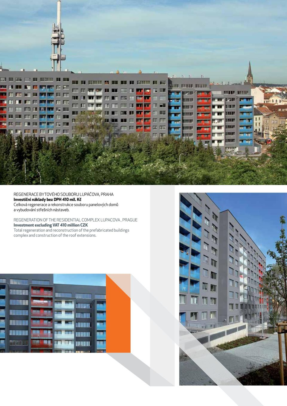 REGENERATION OF THE RESIDENTIAL COMPLEX LUPACOVA, PRAGUE Investment excluding VAT 410 million CZK