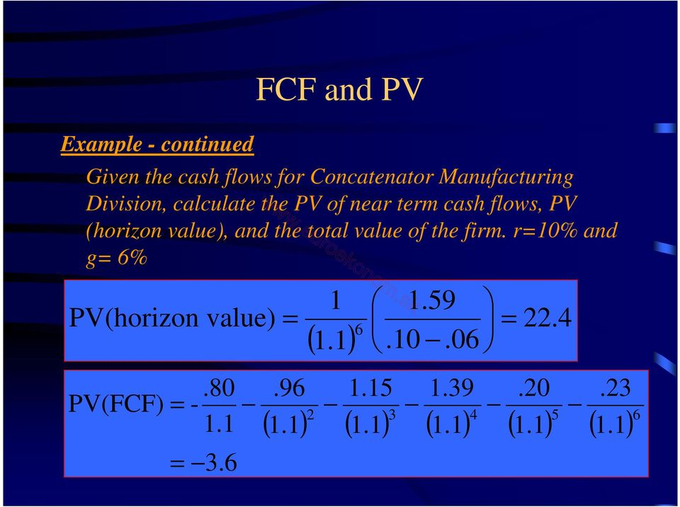 PV of near term cash flows, PV (horizon value), and the total value of the firm.
