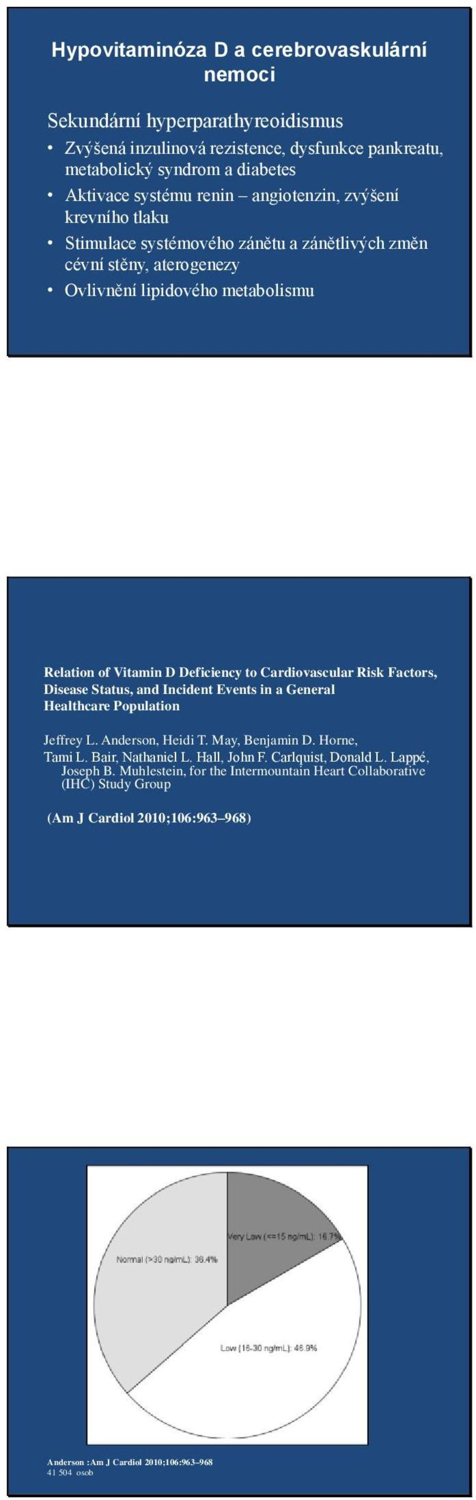 Cardiovascular Risk Factors, Disease Status, and Incident Events in a General Healthcare Population Jeffrey L. Anderson, Heidi T. May, Benjamin D. Horne, Tami L. Bair, Nathaniel L.
