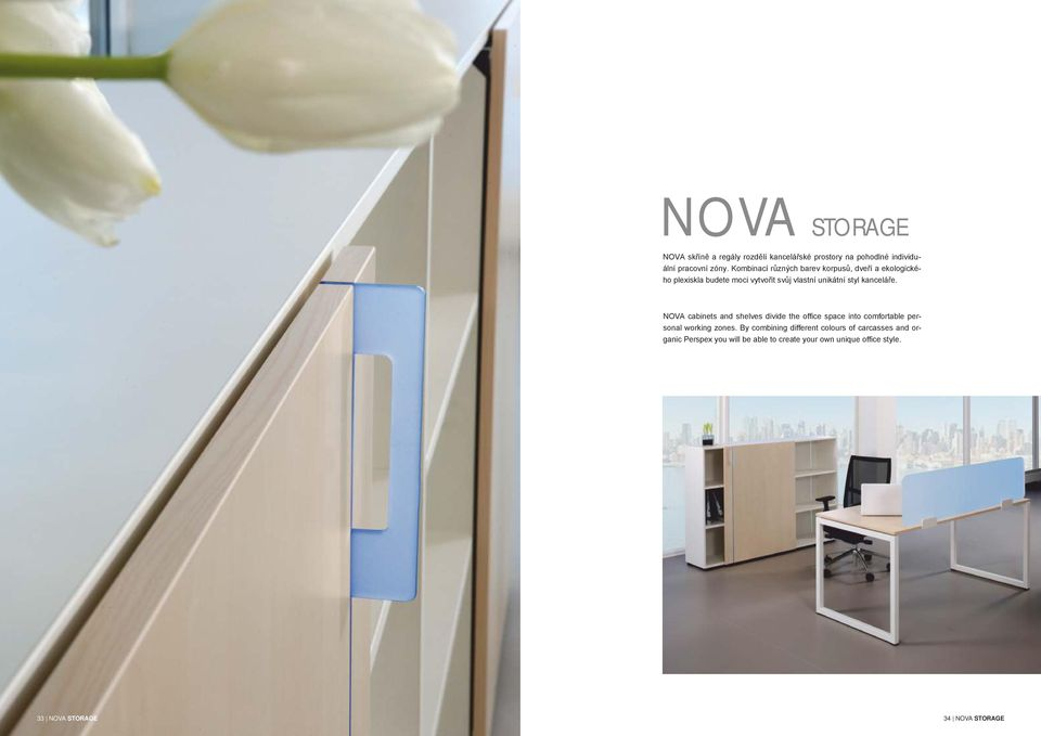 kanceláře. NOVA cabinets and shelves divide the office space into comfortable personal working zones.
