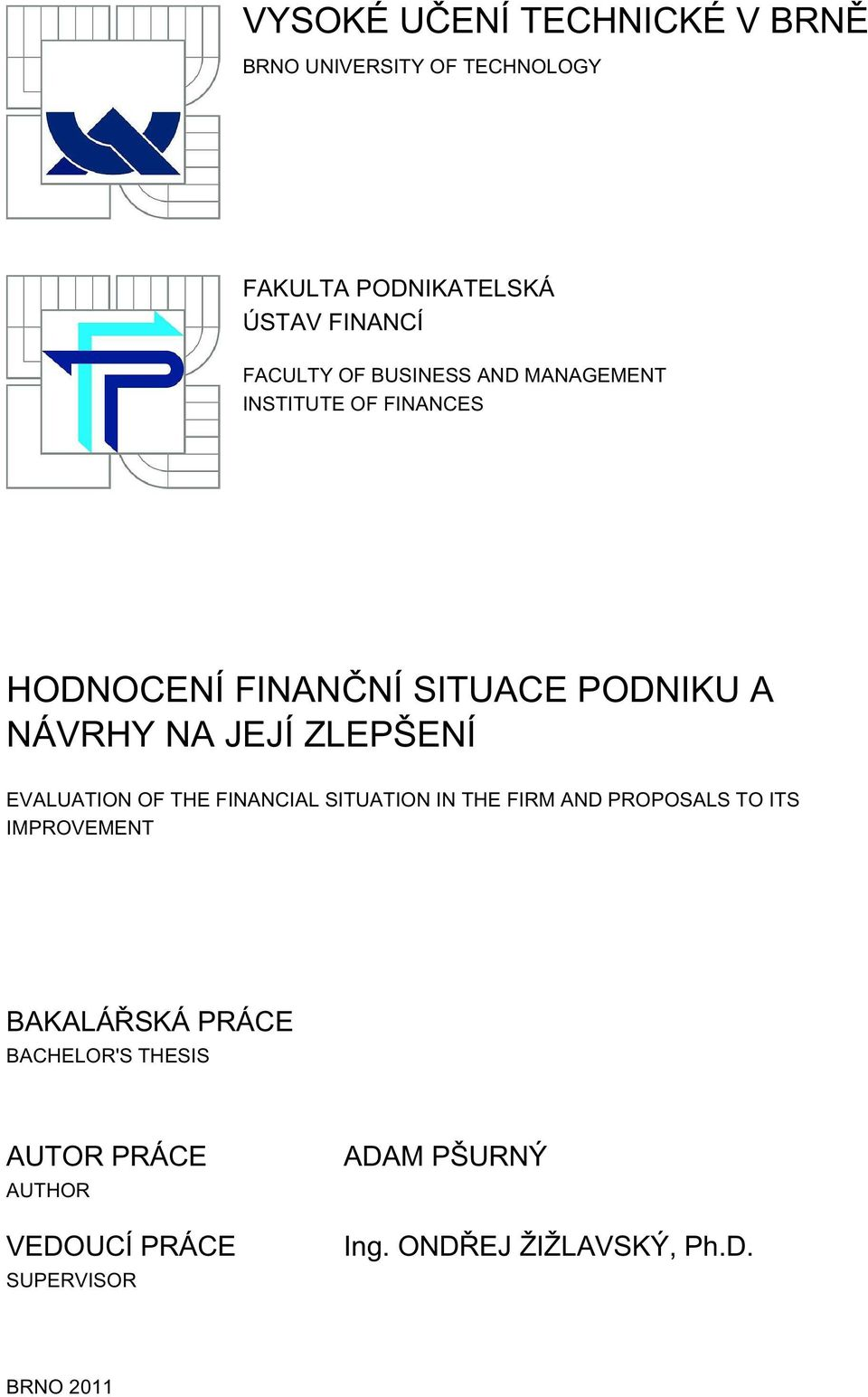 EVALUATION OF THE FINANCIAL SITUATION IN THE FIRM AND PROPOSALS TO ITS IMPROVEMENT BAKALÁŘSKÁ PRÁCE