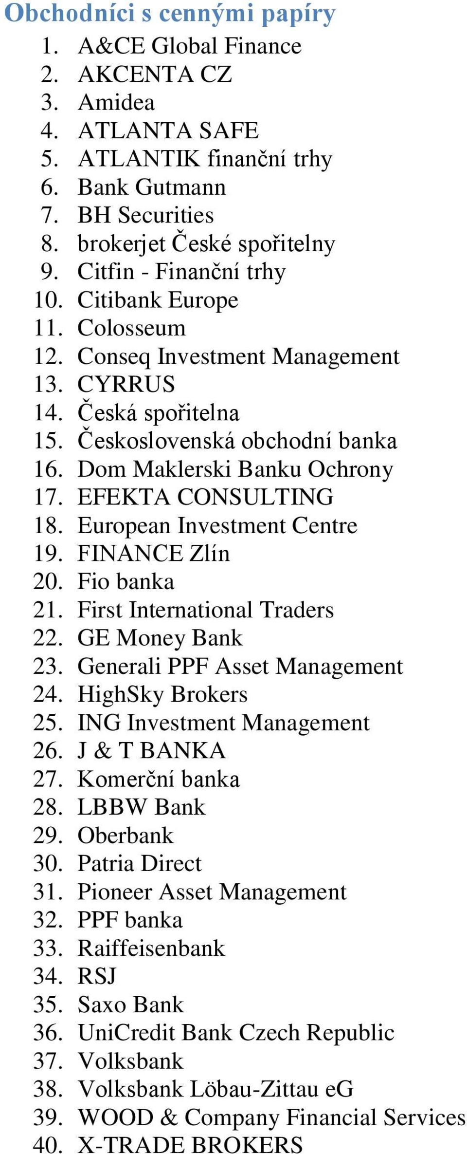 EFEKTA CONSULTING 18. European Investment Centre 19. FINANCE Zlín 20. Fio banka 21. First International Traders 22. GE Money Bank 23. Generali PPF Asset Management 24. HighSky Brokers 25.
