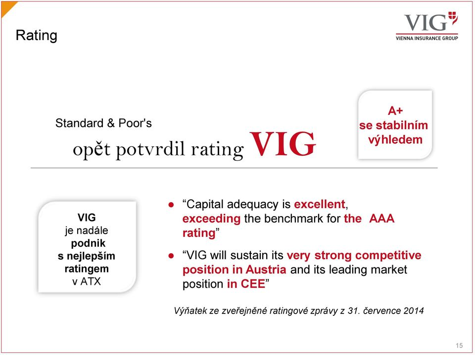 for the AAA rating VIG will sustain its very strong competitive position in Austria and