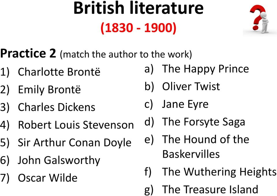 Galsworthy 7) Oscar Wilde a) The Happy Prince b) Oliver Twist c) Jane Eyre d) The