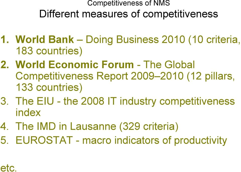 World Economic Forum - The Global Competitiveness Report 2009 2010 (12 pillars, 133