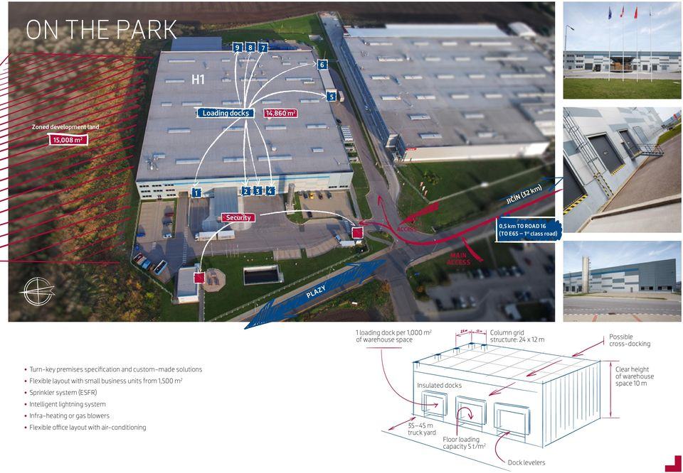 custom-made solutions Flexible layout with small business units from 1,500 m 2 Sprinkler system (ESFR) Intelligent lightning system Infra-heating or gas