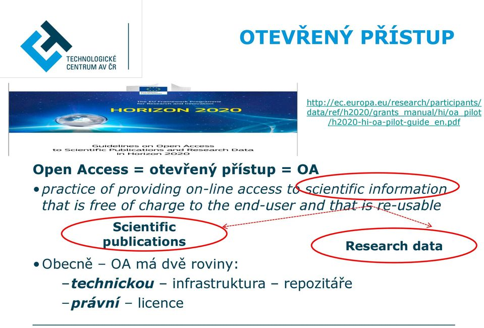 pdf Open Access = otevřený přístup = OA practice of providing on-line access to scientific