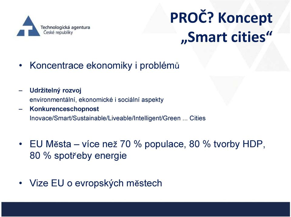 Inovace/Smart/Sustainable/Liveable/Intelligent/Green.