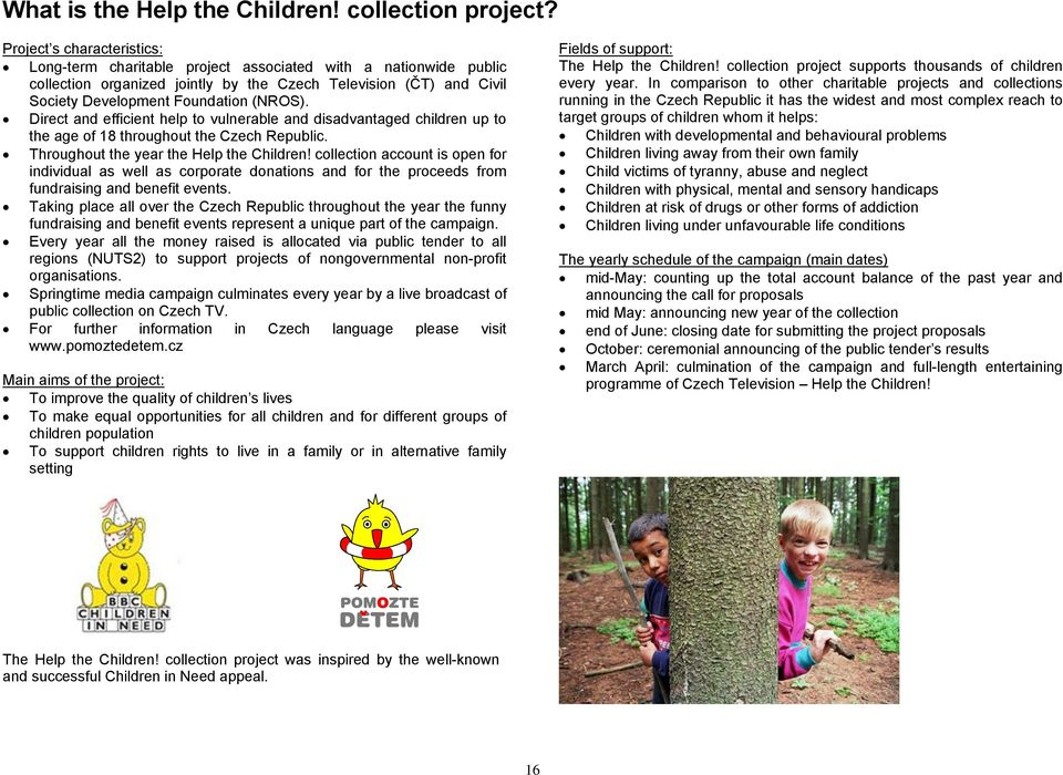 Direct and efficient help to vulnerable and disadvantaged children up to the age of 18 throughout the Czech Republic. Throughout the year the Help the Children!