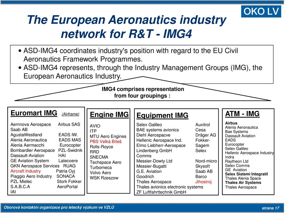 IMG4 comprises representation from four groupings : Euromart IMG (Airframe) Aernnova Aerospace Airbus SAS Saab AB AgustaWestland EADS IW.