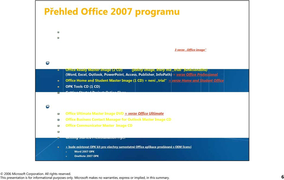 typ: Office Ready OPK Master Kit: Office Ready Master Image (2 CD) (jediný image, který má trial funkcionalitu) (Word, Excel, Outlook, PowerPoint, Access, Publisher, InfoPath) = verze Office