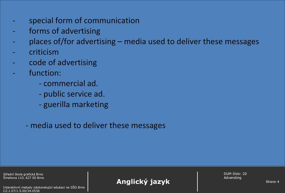 - code of advertising - function: - commercial ad.