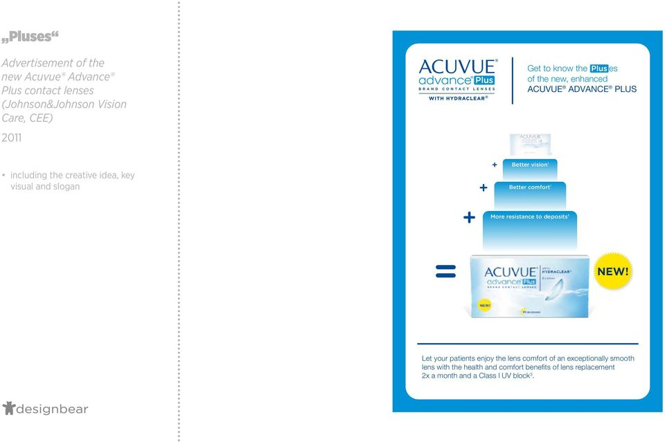 the new, enhanced ACUVUE ADVANCE PLUS Better vision 1 Better comfort 1 More resistance to deposits 2 NEW!