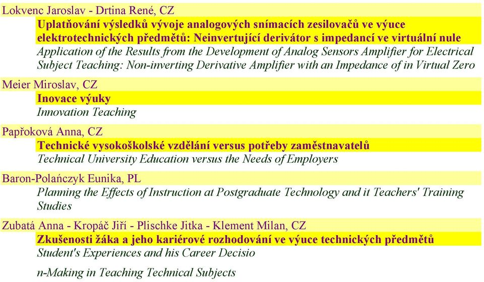 výuky Innovation Teaching Papřoková Anna, CZ Technické vysokoškolské vzdělání versus potřeby zaměstnavatelů Technical University Education versus the Needs of Employers Baron-Polańczyk Eunika, PL