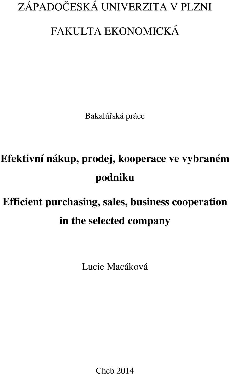 vybraném podniku Efficient purchasing, sales, business