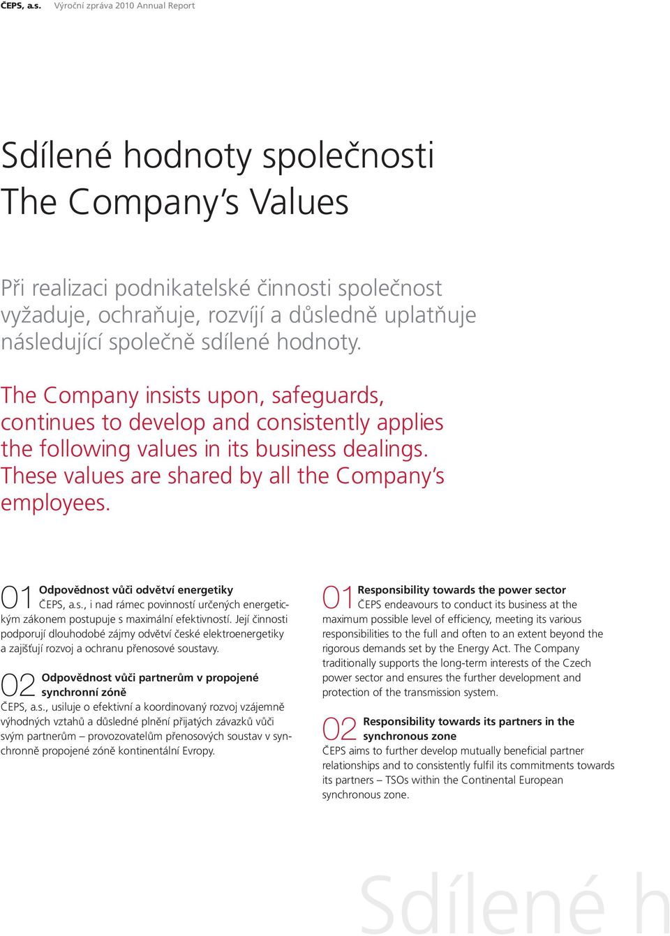 společně sdílené hodnoty. The Company insists upon, safeguards, continues to develop and consistently applies the following values in its business dealings.