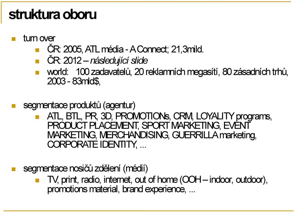 (agentur) ATL, BTL, PR, 3D, PROMOTIONs, CRM, LOYALITY programs, PRODUCT PLACEMENT, SPORT MARKETING, EVENT MARKETING,