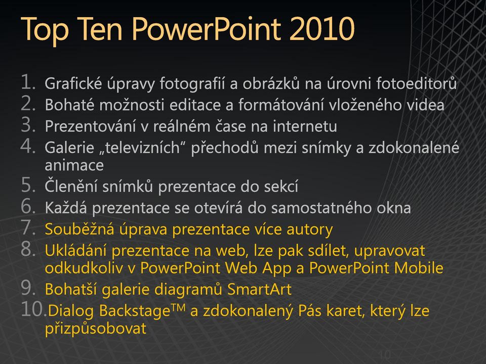 PowerPoint Web App a PowerPoint Mobile 9.