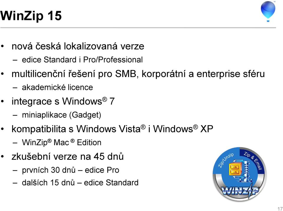 integrace s Windows 7 miniaplikace (Gadget) kompatibilita s Windows Vista i Windows