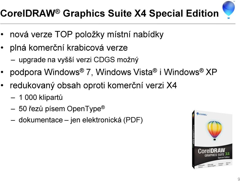 podpora Windows 7, Windows Vista i Windows XP redukovaný obsah oproti