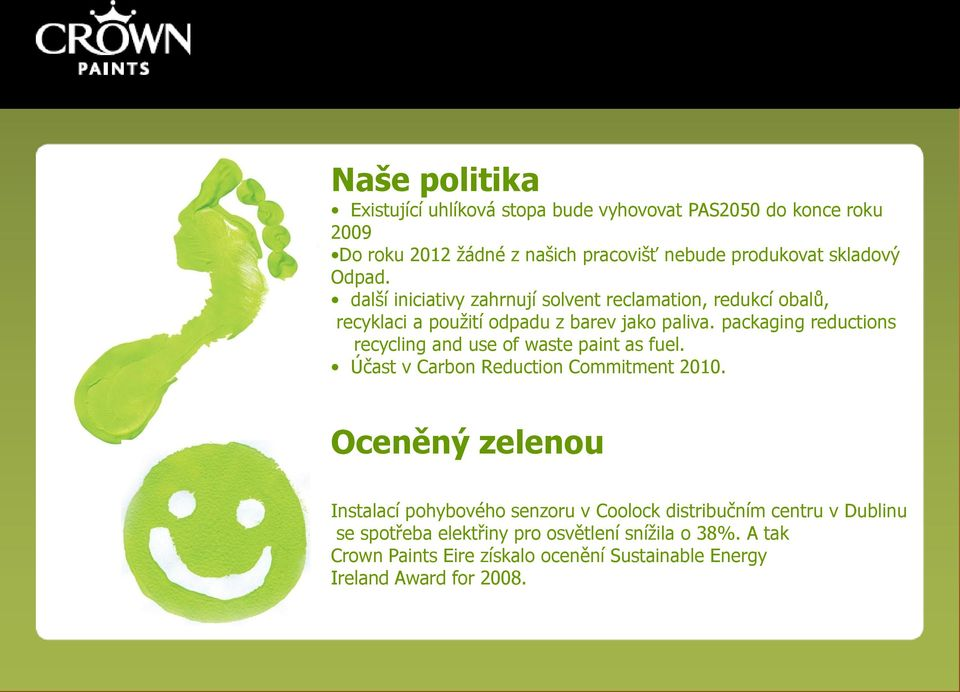 packaging reductions recycling and use of waste paint as fuel. Účast v Carbon Reduction Commitment 2010.
