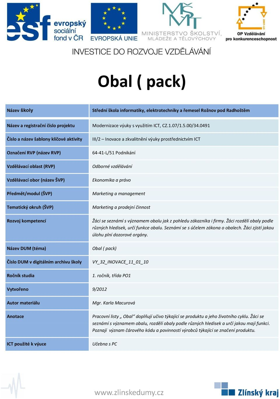 Obal ( pack) VY_32_INOVACE_11_01_10 1.