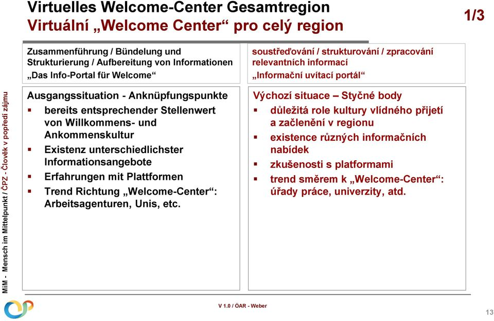 Plattformen Trend Richtung Welcome-Center : Arbeitsagenturen, Unis, etc.