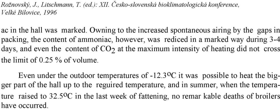 3-4 days, and even the content of CO 2 at the maximum intensity of heating did not cross the limit of 0.25 % of volume.