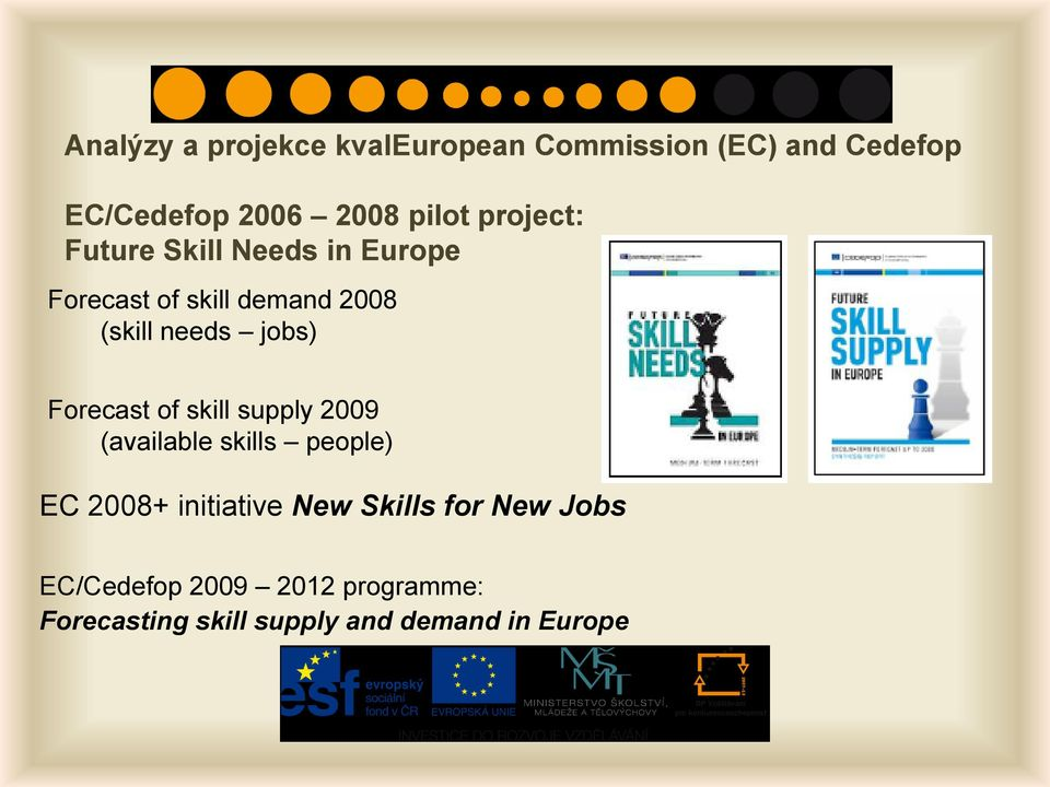 jobs) Forecast of skill supply 2009 (available skills people) EC 2008+ initiative New